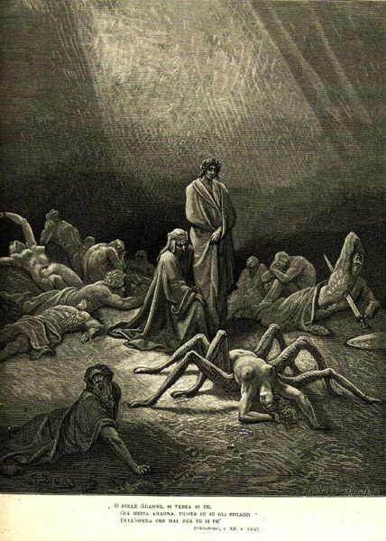 Arachne depicted in Dante's Purgatorio 12